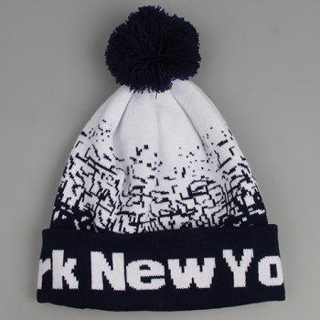Chic Woolen Yarn Ball Scrawl and Letter Pattern Women's Knitted Beanie -  CADETBLUE