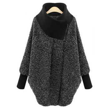 Splicing Long Sleeve Turtleneck Coat For Women