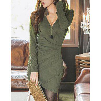 Trendy Women's V-Neck Long Sleeve Solid Color Wrap Dress
