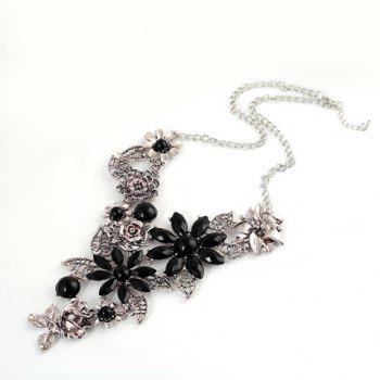 Faux Crystal Hollow Out Blossom Necklace - SILVER
