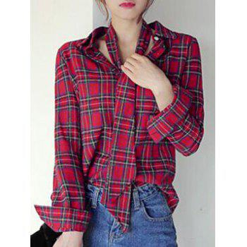 Chic Long Sleeve Shirt Collar Plaid Women's Shirt