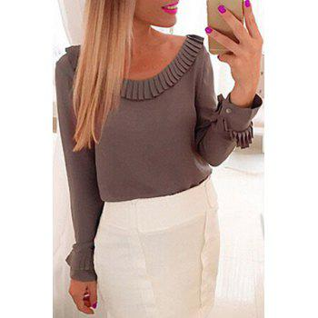 Chic Women's Scoop Neck Long Sleeve Fringed Solid Color Blouse