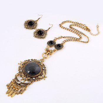 Round Faux Gem Filigree Necklace and Earrings - GOLDEN
