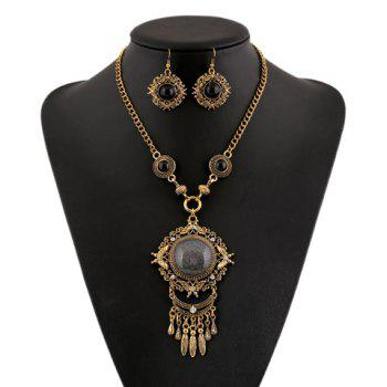 Round Faux Gem Filigree Necklace and Earrings