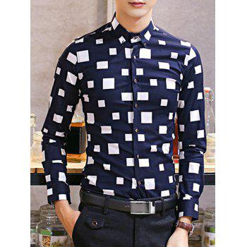 Geometric Print Turn-Down Collar Slimming Long Sleeve Men's Button-Down Shirt