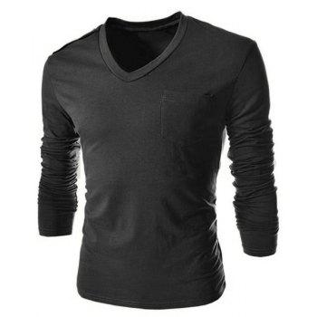 Single-Breasted Shoulder Design One Pocket Solid Color V-Neck Long Sleeves Men's Slim Fit T-Shirt