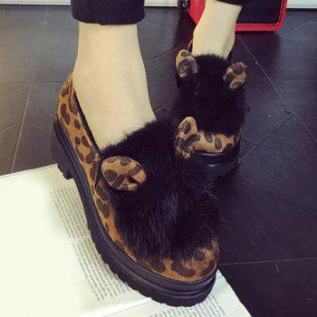 Stylish Ears and Suede Design Women's Platform Shoes - LEOPARD 35