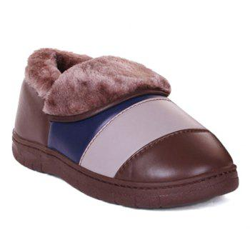 Casual Color Block and PU Leather Design Slippers For Men