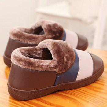 Casual Color Block and PU Leather Design Slippers For Men - L(43-44) L(43-44)