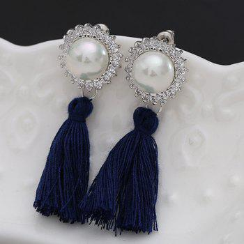 Pair of Vintage Faux Pearl Rhinestoned Tassel Drop Earrings For Women