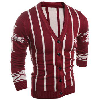 V-Neck Slimming Long Sleeve Vertical Stripe Men's Cardigan