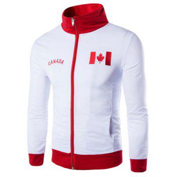 Canada Flag Embroidered Color Spliced Letters Print Stand Collar Long Sleeves Men's Sweatshirt
