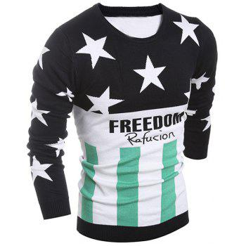 Color Block Splicing Round Neck Flag Pattern Letter Print Long Sleeve Men's Sweater