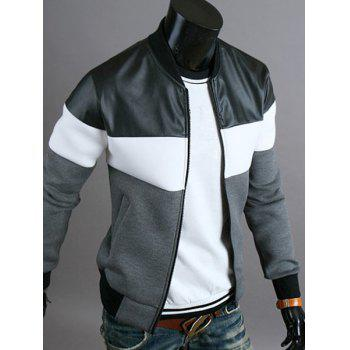 Classic Color Block PU Leather Spliced Rib Hem Stand Collar Long Sleeves Men's Slimming Jacket - DEEP GRAY M