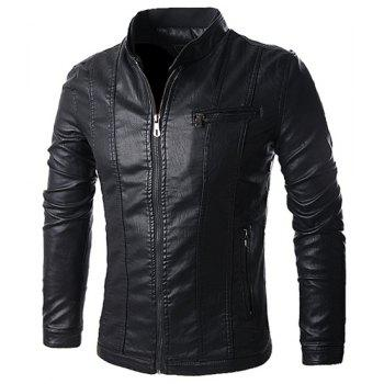 Stand Collar Solid Color Multi-Pocket Long Sleeve Men's PU-Leather Jacket