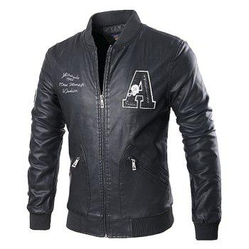 Stand Collar Rib Splicing Letters Pattern Long Sleeve Men's PU-Leather Jacket
