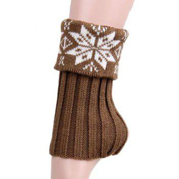 Buy Pair Chic Christmas Snowflake Knitted Boot Cuffs Women KHAKI