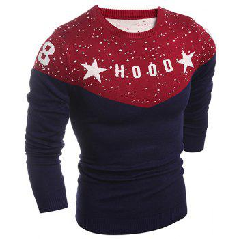 Letter and Star Print Splicing Design Round Neck Long Sleeve Men's Sweater