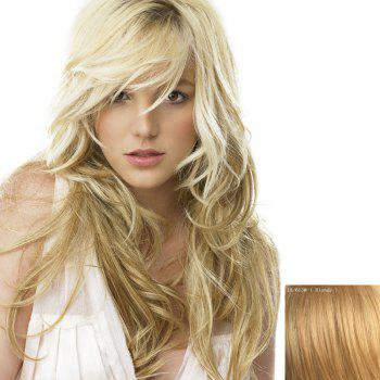 Vogue Long Fluffy Wavy Stunning Side Bang Capless Human Hair Wig For Women
