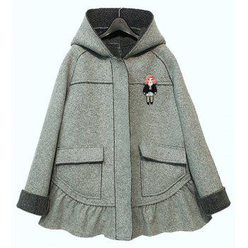 Chic Long Sleeve Loose Hooded Pocket Coat For Women