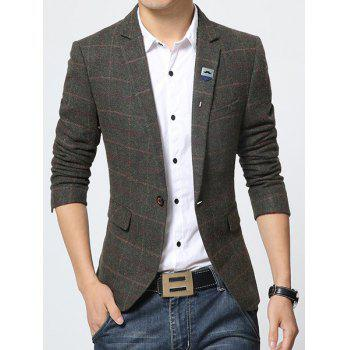 Lapel Printed Lining Stylish Long Sleeve Checked Slimming Men's Blazer