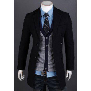 Hot Sale Lapel French Front Multi-Button Patch Pocket Long Sleeves Men's Woolen Blend Coat