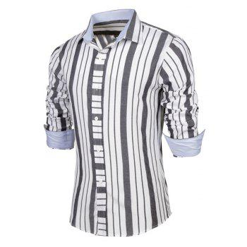 Modern Style Shirt Collar Vertical Stripe Print Color Block Long Sleeves Men's Fitted Shirt