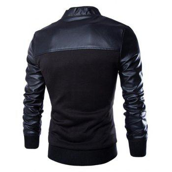 Vogue PU Leather Spliced Rib Hem Patch Pocket Stand Collar Long Sleeves Men's Fitted Jacket - BLACK M