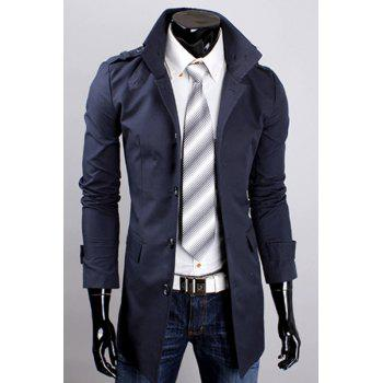 Hot Sale Multi-Button Patch Pocket Epaulet Design Stand Collar Long Sleeves Men's Trench Coat