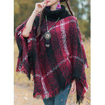 Stylish Turtleneck Long Sleeve Plaid Asymmetrical Fringed Women's Cape