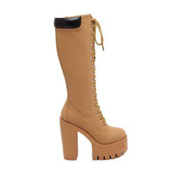 Trendy Platform and Lace-Up Design Women's High Heel Boots