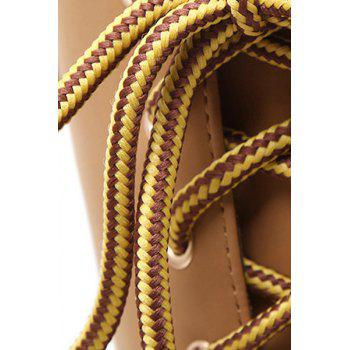 Trendy Platform and Lace-Up Design Women's High Heel Boots - APRICOT 37