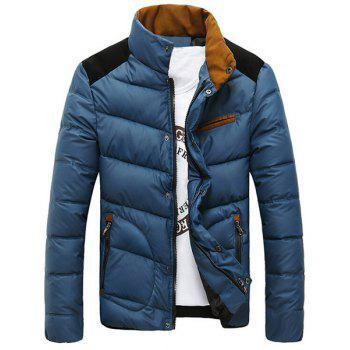 Edging Splicing Design Stand Collar Long Sleeve Slimming Men's Cotton-Padded Jacket