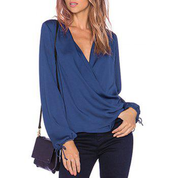 Sexy Long Sleeve Plunging Neck Solid Color Chiffon Women's Blouse