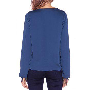 Sexy Long Sleeve Plunging Neck Solid Color Chiffon Women's Blouse - BLUE XL