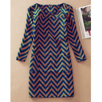 Stylish Scoop Collar 3/4 Sleeve Slimming Colored Zig Zag Women's Dress