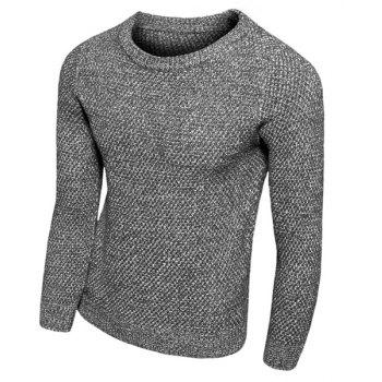 Round Neck Solid Color Knitting Slimming Long Sleeve Men's Sweater