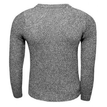 Round Neck Solid Color Knitting Slimming Long Sleeve Men's Sweater - DEEP GRAY M