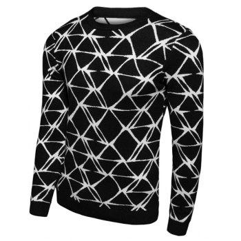 Round Neck Slimming Geometric Print Long Sleeve Men's Sweater