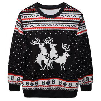 Cute Fawn Print Round Neck Long Sleeve Christmas Sweatshirt For Women