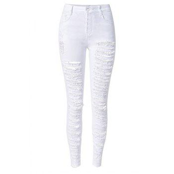 Chic High-Waisted Solid Color Broken Hole Design Women's Jeans - WHITE 2XL