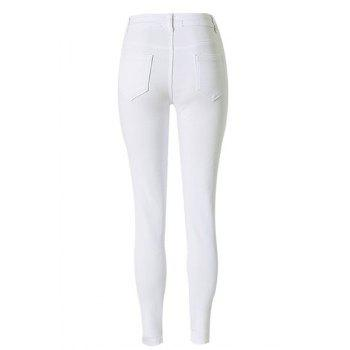 Chic High-Waisted Solid Color Broken Hole Design Women's Jeans - 2XL 2XL