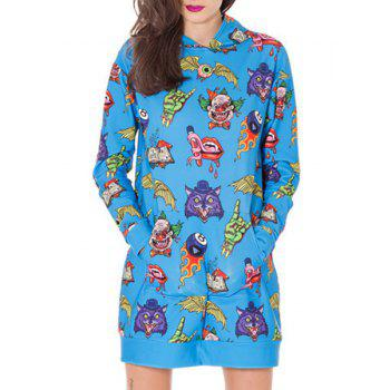 Cute Hooded Long Sleeve Printed Pocket Design Women's Dress