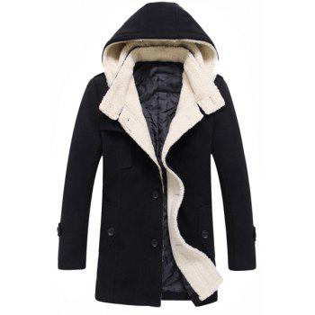 Multi-Button Patch Pocket Epaulet Design Hooded Long Sleeves Men's Woolen Blend Coat
