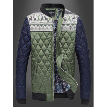 Christmas Deer Snowflake Print Color Spliced Argyle Pattern Stand Collar Long Sleeves Men's Padded Coat