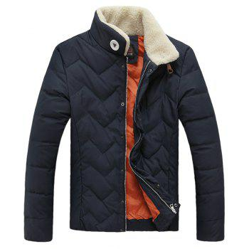 Stand Collar Wavy Grain Slim Fit Long Sleeve Men's Thicken Padded Coat