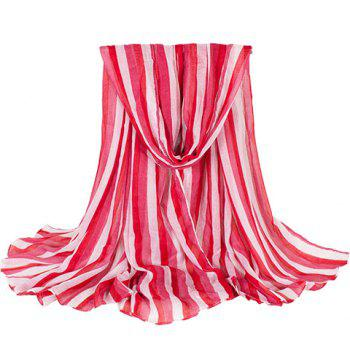 Chic Vertical Stripe Pattern Bright Color Women's Voile Scarf - RED