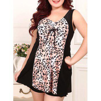 Chic V Neck Spliced Leopard Print Plus Size One-Piece Women's Swimwear