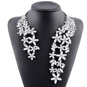 Rhinestone Floral Hollow Out Cuff Necklace