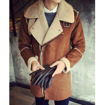 Loose-Fitting Turn-Down Collar Long Sleeve Men's Sherpa Coat
